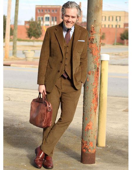 Mens 2 Buttons Single Camel Thick Corduroy Suit Flat Front Pant