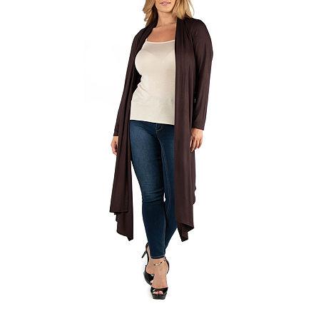 24/7 Comfort Apparel Long Sleeve Knee Length Open Cardigan - Plus, 2x , Brown