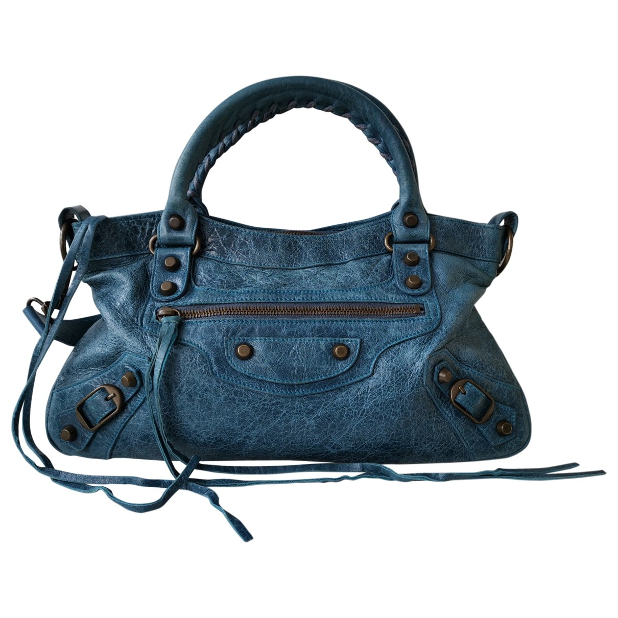 Balenciaga First Handtasche in  Blau Leder