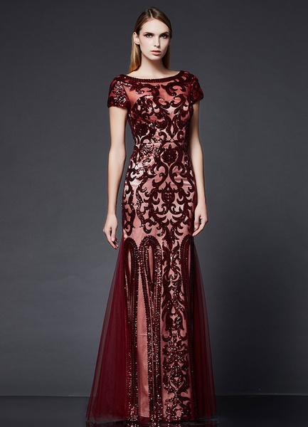 Milanoo Vestidos de fiesta largos Lentejuelas vestido negro sirena vestido Formal manga corta bordado Bateau vestido Maxi
