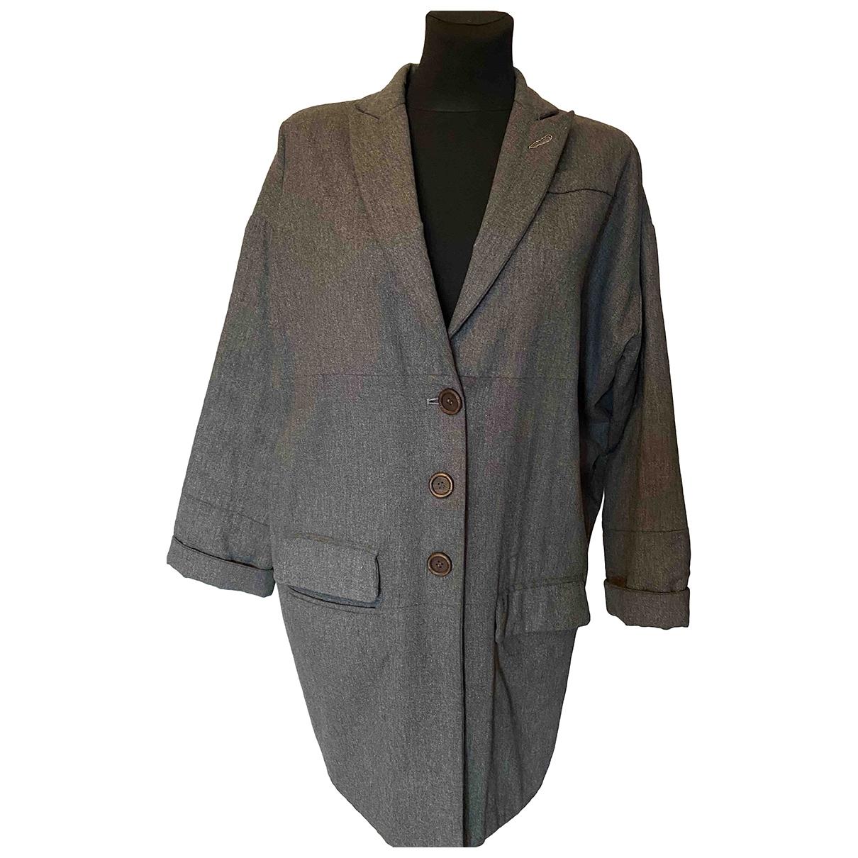 Brunello Cucinelli - Veste   pour femme en laine - gris