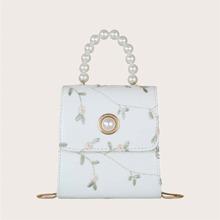 Handtasche mit Kunstperlen und Griff