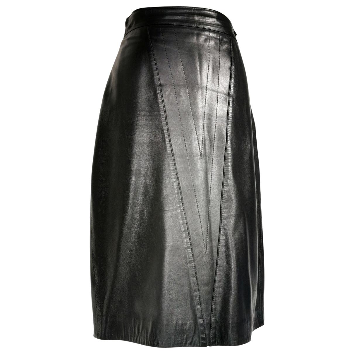 Genny - Jupe   pour femme en cuir - noir