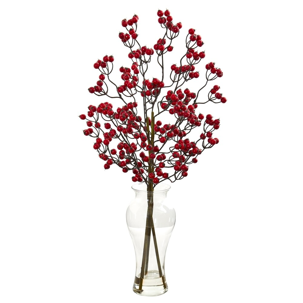 Nearly Natural Berry Artificial Arrangement in Glass Vase