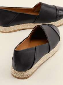 Crocodile Toe Cap Flatform Espadrille Flats