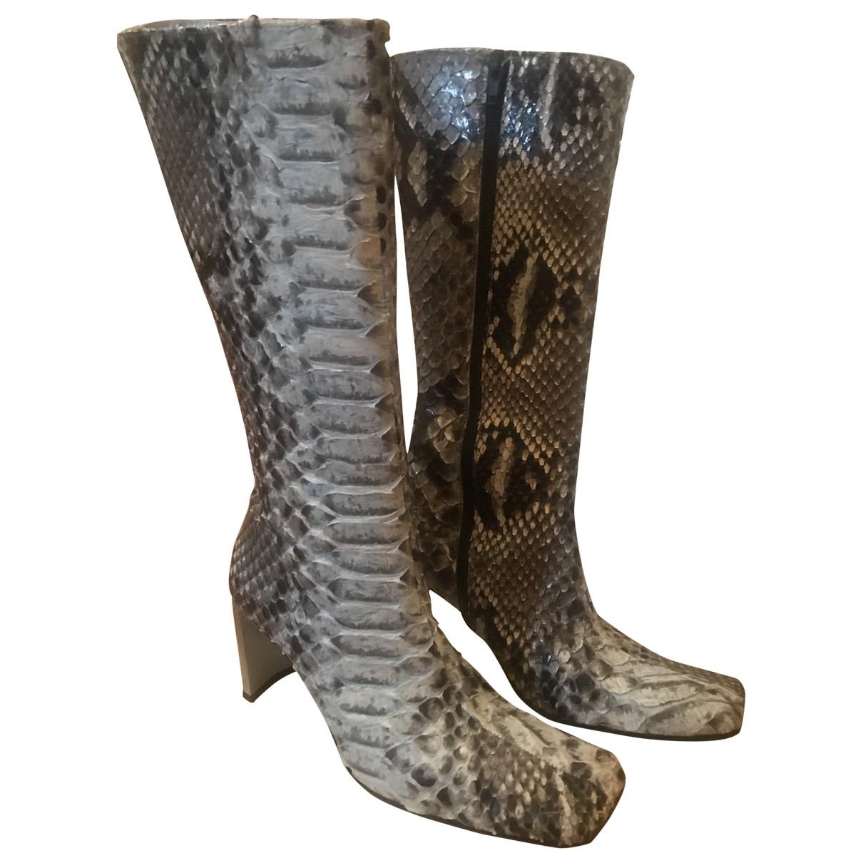 - Boots   pour femme en cuir - multicolore