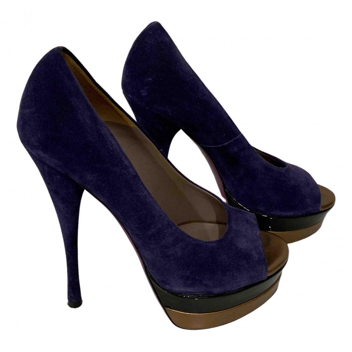 Versace - Escarpins   pour femme en suede - violet