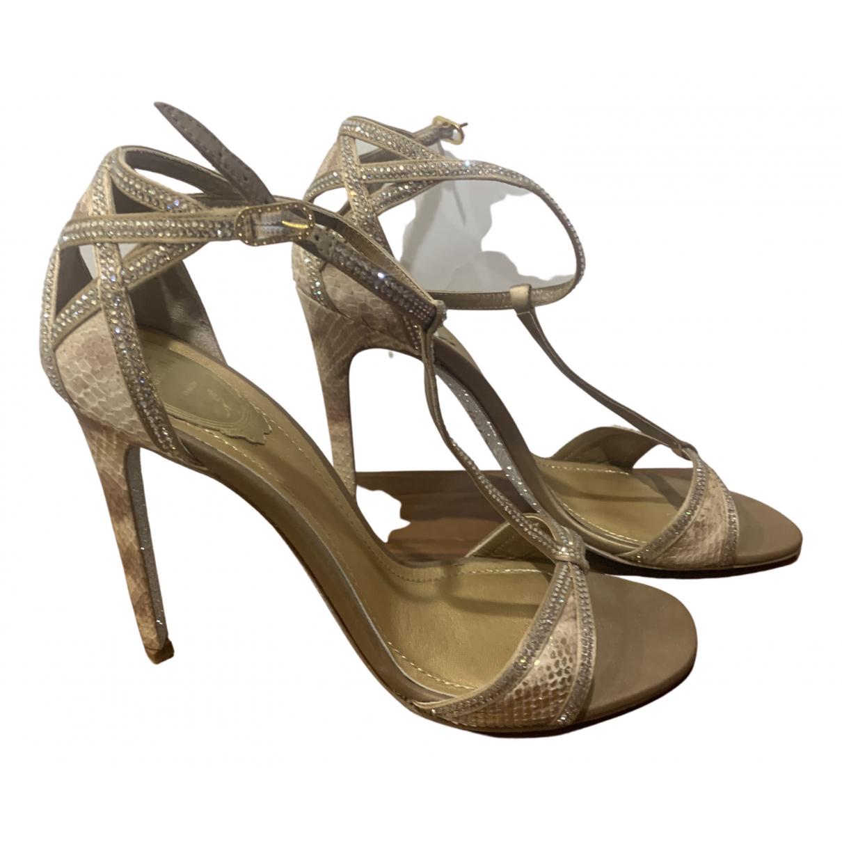 Rene Caovilla N Gold Leather Heels for Women 40 EU