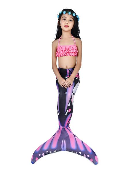 Milanoo Disfraz de niños Halloween Traje de sirena de los niños traje de baño de cola de pez de halloween 2 piezas Disfraz Carnaval Disfraz Halloween