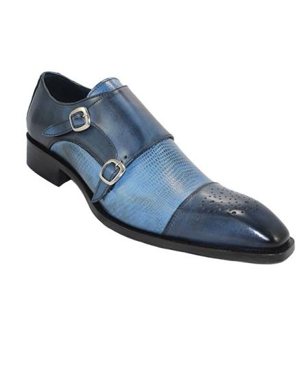 Men's Blue & Light Blue Calf-Skin & Calf Print Double Monkstrap Loafer
