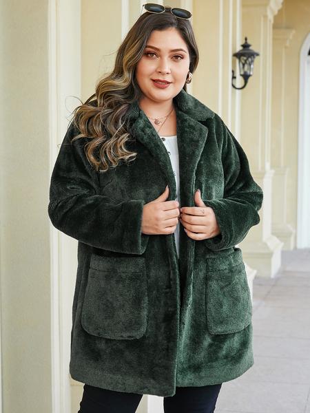 YOINS Plus Size Green Pocket Design Lapel Collar Coat