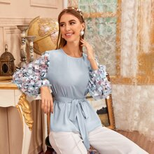 Appliques Lantern Sleeve Self Belted Top