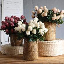 1 haz flor artificial con 9 piezas cabeza