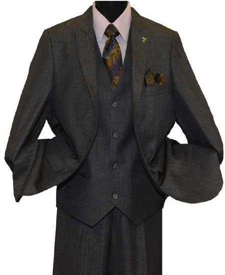 Men's Sharkskin Striped 2Button Lapel Breasted Light Olive Vested Suit