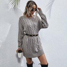 Solid Cable Knit Drop Shoulder Longline Sweater Without Belt