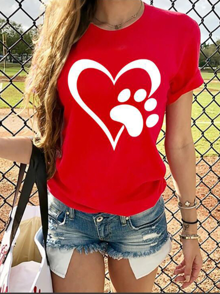 Yoins Heart & Puppy Foot Print Crew Neck Short Sleeves Tee