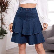 High Waist Layered Denim Skirt