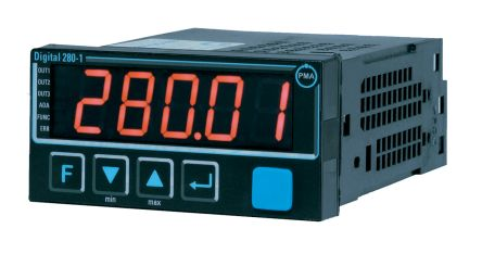 P.M.A D280-1 On/Off Temperature Controller, 48 x 96mm, B Type Thermocouple, C Type Thermocouple, Current, D Type