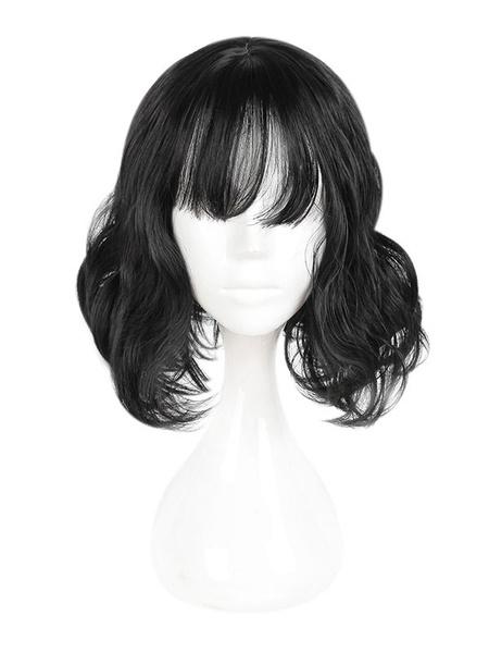 Milanoo Harajuku Lolita Wig Wispy Fringe Bang Natural Wave Black Lolita Short Wig