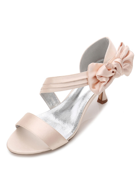 Milanoo Champagne Bridesmaid Shoes Satin Open Toe Bow Wedding Guest Shoes