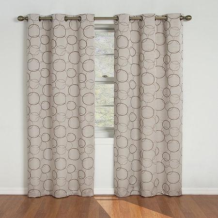 Eclipse Blackout Grommet-Top Single Curtain Panel, One Size , Beige