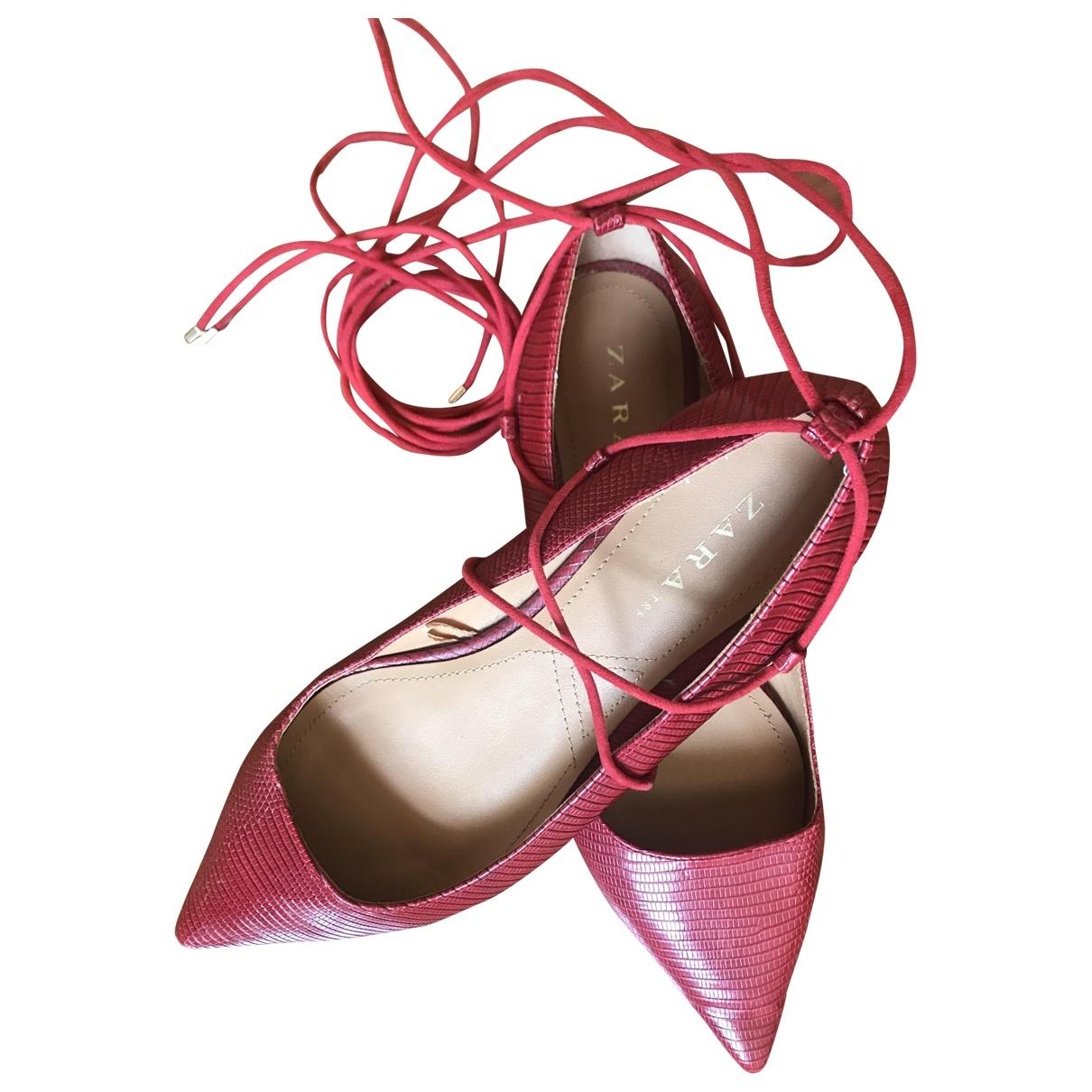 Zara - Ballerines   pour femme en cuir - rouge