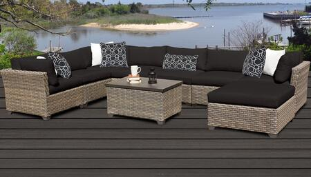 Monterey Collection MONTEREY-09b-BLACK 9-Piece Patio Set 09b with 3 Corner Chair   4 Armless Chair   1 Ottoman   1 Storage Coffee Table - Beige and