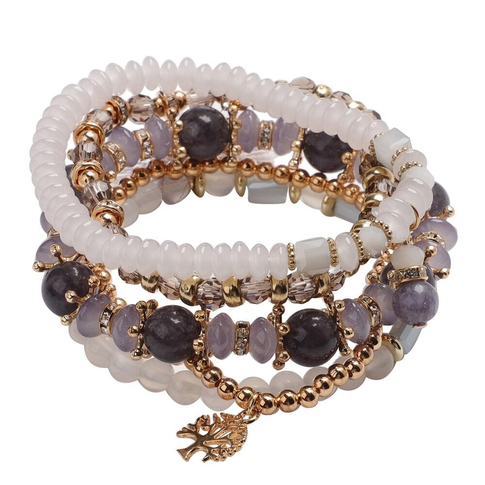 Goldtone Quartsite Set of 5 Bracelet Ct 37 (Multi - White)