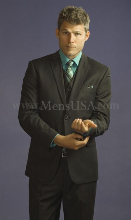 2 Button 3 Piece Black Tone on Slim Fit affordable suit online sale