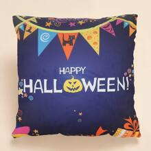 Halloween Pumpkin Print Cushion Cover Without Filler