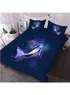 Purple Galaxy Mermaid 3D Animal Print Bedding 3-Piece Warm Comforter Sets