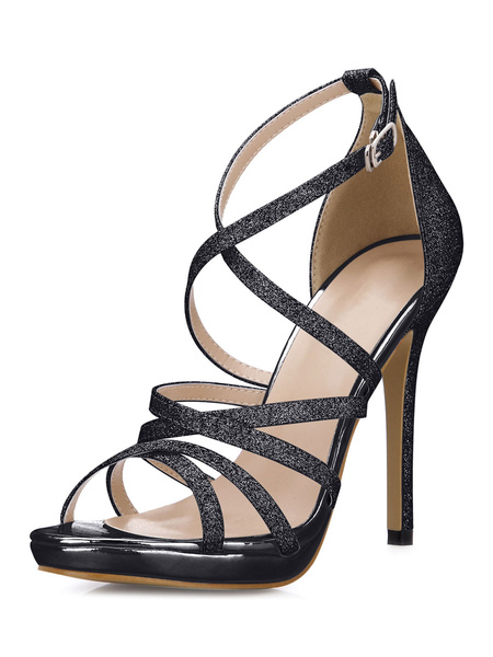 Milanoo Silver Glitter Fashion Gladiator Sandals for Women