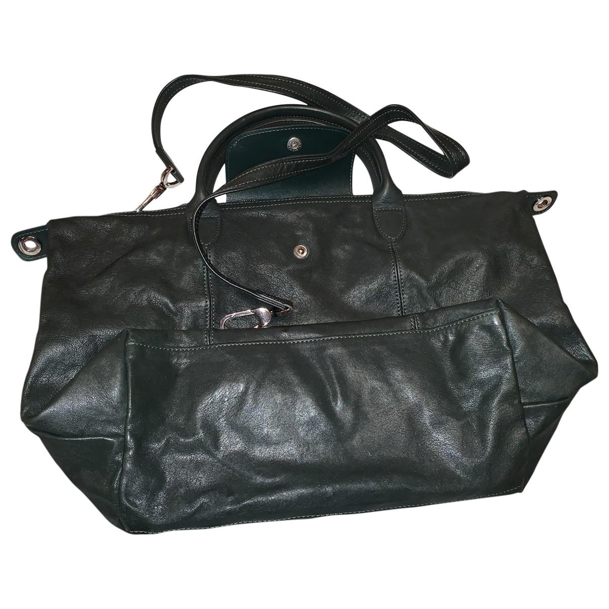 Longchamp Pliage  Green Leather handbag for Women \N