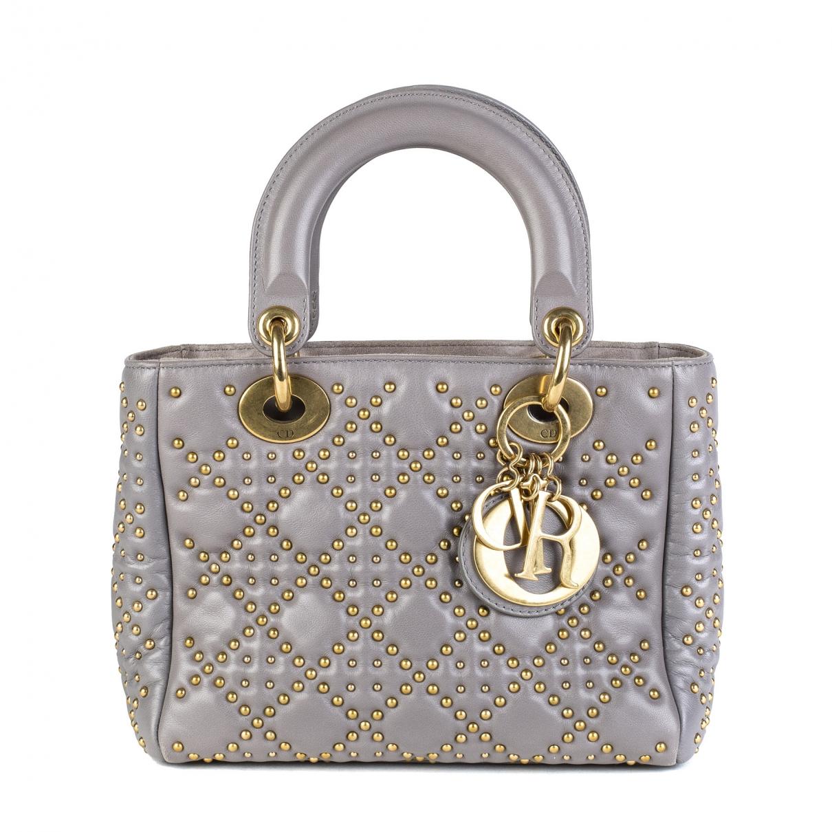 Dior Lady Dior Handtasche in  Grau Leder