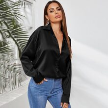 Satin Button Up Curved Hem Blouse