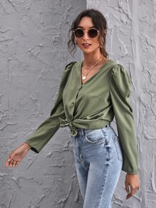 Button Front Puff Sleeve Blouse