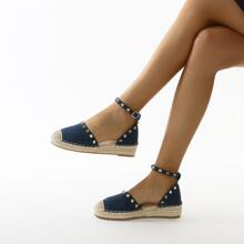 Cap Toe Studded Decor Wedges
