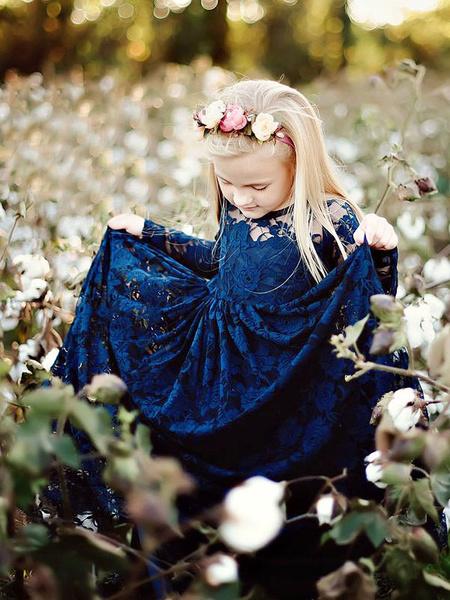 Milanoo Vestidos para niña de flores Cuello joya Encaje Mangas largas Hasta el tobillo Vaina Vestidos de fiesta para niños