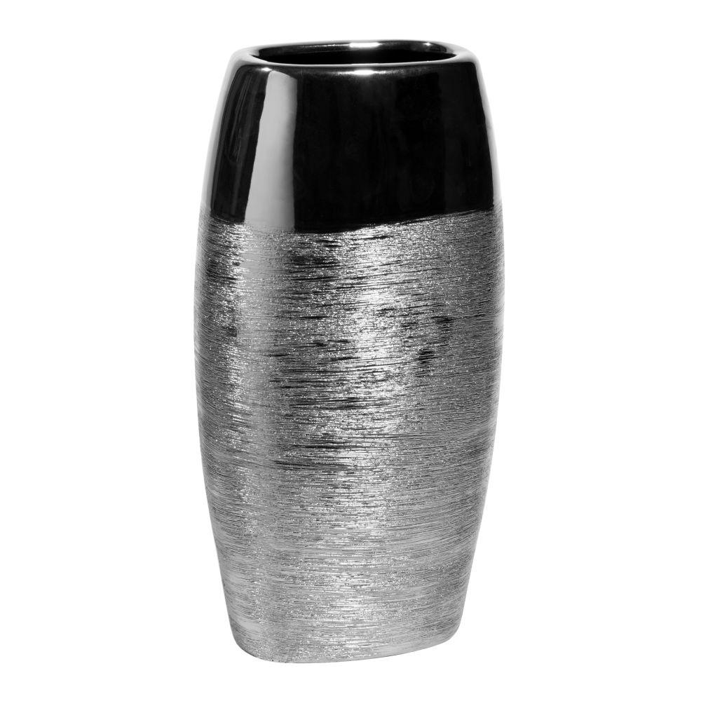Ovale Vase aus Keramik, H 34cm, silbern