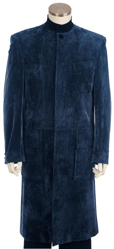 Stylish Navy Clergy Robes Velvet Suit Mens Cheap