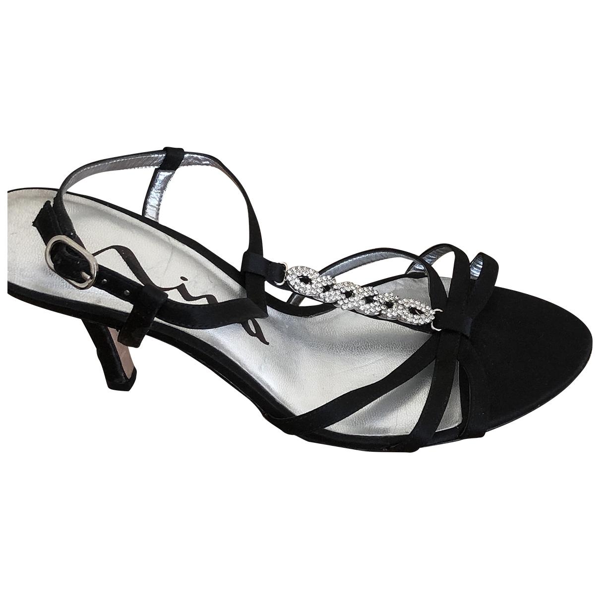- Sandales   pour femme en toile - noir