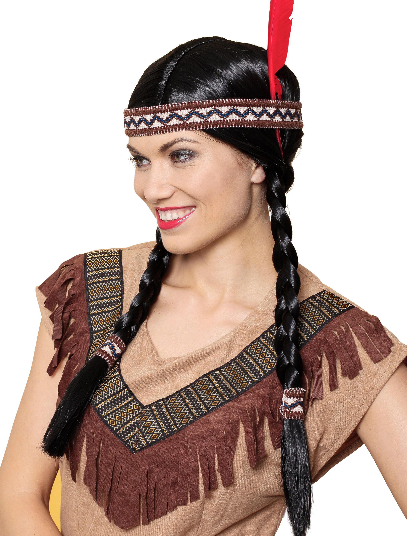 Kostuemzubehor Peruecke Indianerin Ama mit Haarband schwarz