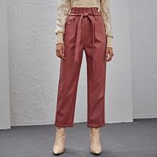 Paperbag Waist Belted PU Leather Pants