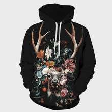Men Deer And Floral Print Drawstring Hoodie