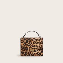 Bolsa cartera de leopardo con cerradura girante