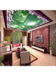 3D Green Trees in Sunshine Printed PVC Waterproof Sturdy Eco-friendly Self-Adhesive Ceiling Murals
