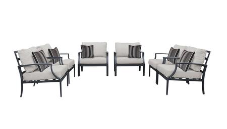 Lexington LEXINGTON-06w-ASH 6-Piece Aluminum Patio Set 06w with 6 Club Chairs - 2 Ash