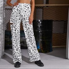 Tie Front Ripped Leopard Pants