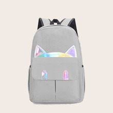 Girls Holographic Cartoon Detail Backpack