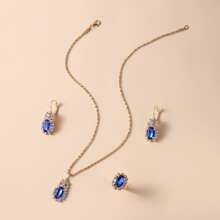 1pc Waterdrop Charm Necklace & 1pair Earrings & 1pc Ring